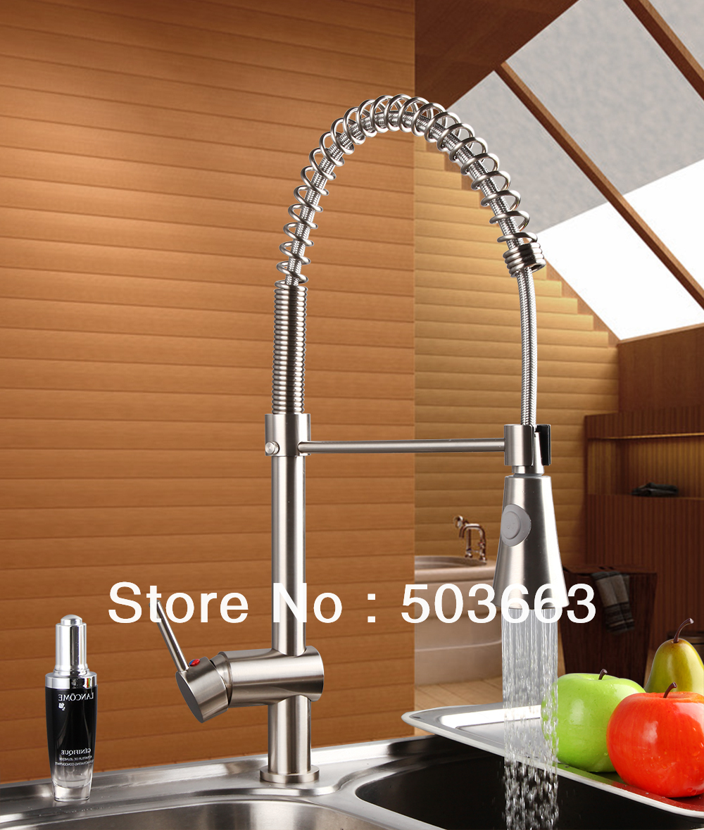 Nice Nickel Brushed Brass Water Kitchen Faucet Swivel Spout Pull Out Vessel Sink Single Handle Deck Mounted Mixer Tap MF-293 double handles free chrome brass water kitchen faucet swivel spout pull out vessel sink single handle mixer tap mf 268