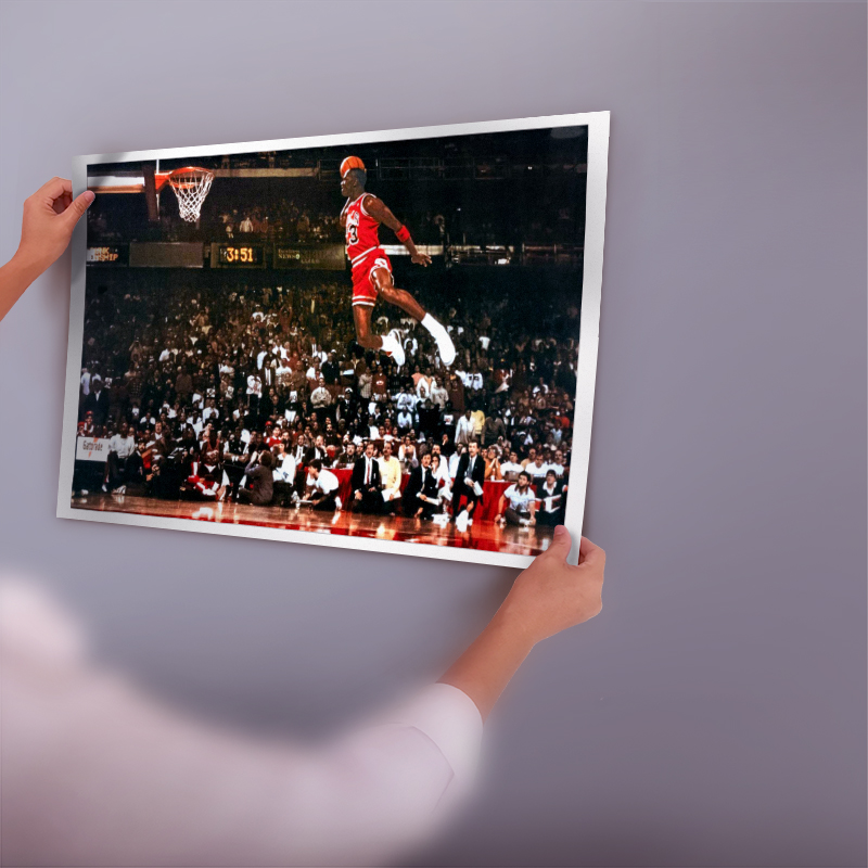 MICHAEL JORDAN Poster Print Flying Dunk From Free Throw Foul Line 24x36 NEW