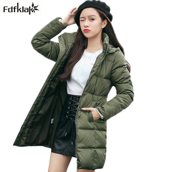 Fdfklak Fashion New Winter Jacket Women Cotton-padded Coats and Jackets Female Outerwear Parka Hooded Long Winter Coat M-3XL