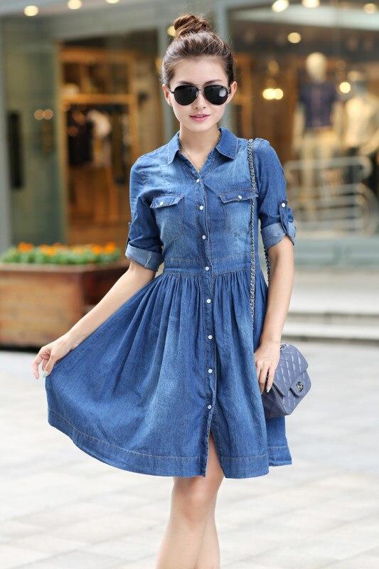 54405d598f 2015 Summer Style Denim Dress Vestidos Femininos Plus Size Women Clothing  Feminine Jeans Dresses-in Dresses from Women s Clothing on Aliexpress.com  ...