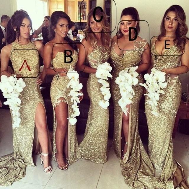 Shiny Gold Sequin Bridesmaid Dress For Wedding Party 2017 Y Mermaid Prom Vestido
