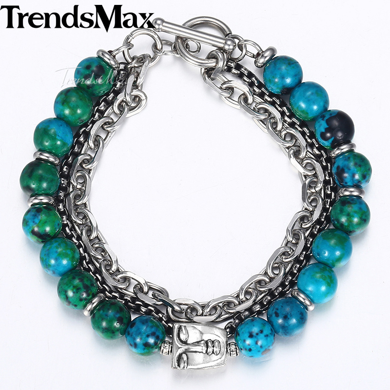 Trendsmax New Green Phoenix Stone Beads Bracelets Men Faces Charm Stainless Steel Bracelets 2018 Men's Fashion Jewelry KDB41 bobo cover new cross vintage punk stainless steel animal bracelets men charm anchor bracelets