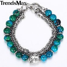 Trendsmax New Green Phoenix Stone Beads Bracelets Men Faces Charm Stainless Steel Bracelets 2018 Men's Fashion Jewelry KDB41(Hong Kong,China)