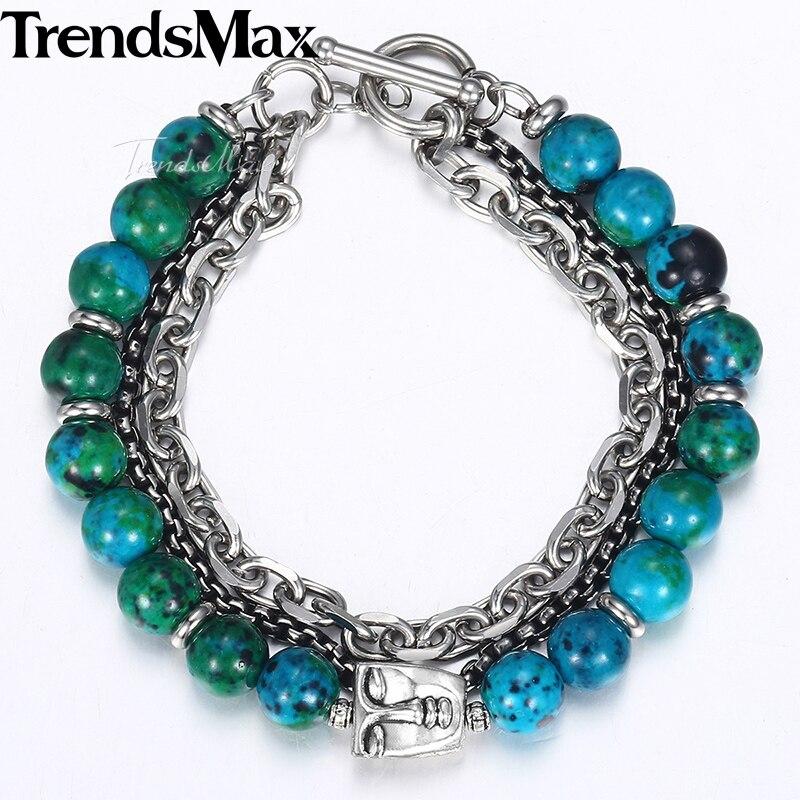 Trendsmax New Green Phoenix Stone Beads Bracelets Men Faces Charm Stainless Steel Bracelets 2018 Mens Fashion Jewelry KDB41