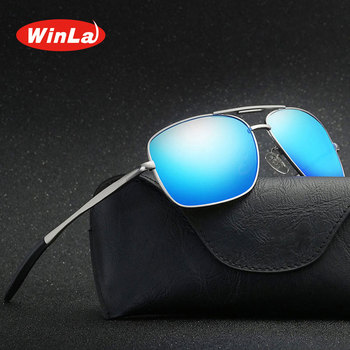 Winla Brand Design Classic Pilot Driving Polarized Sunglasses Men Eyewear Square Metal Frame Vintage Male Oculos UV400 WL8021