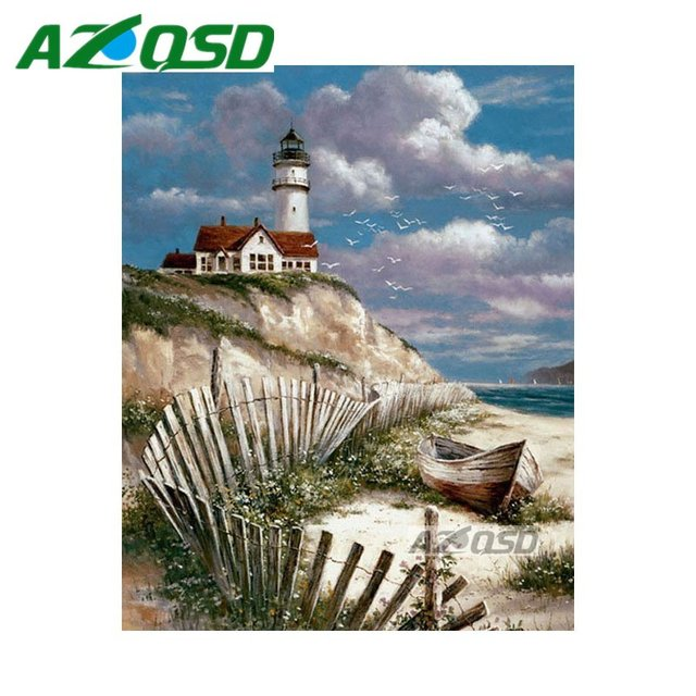 AZQSD Diamond Embroidery Set Beach Lighthouse Home Decor Mosaic Painting  DIY Full Square Diamond Painting Cross