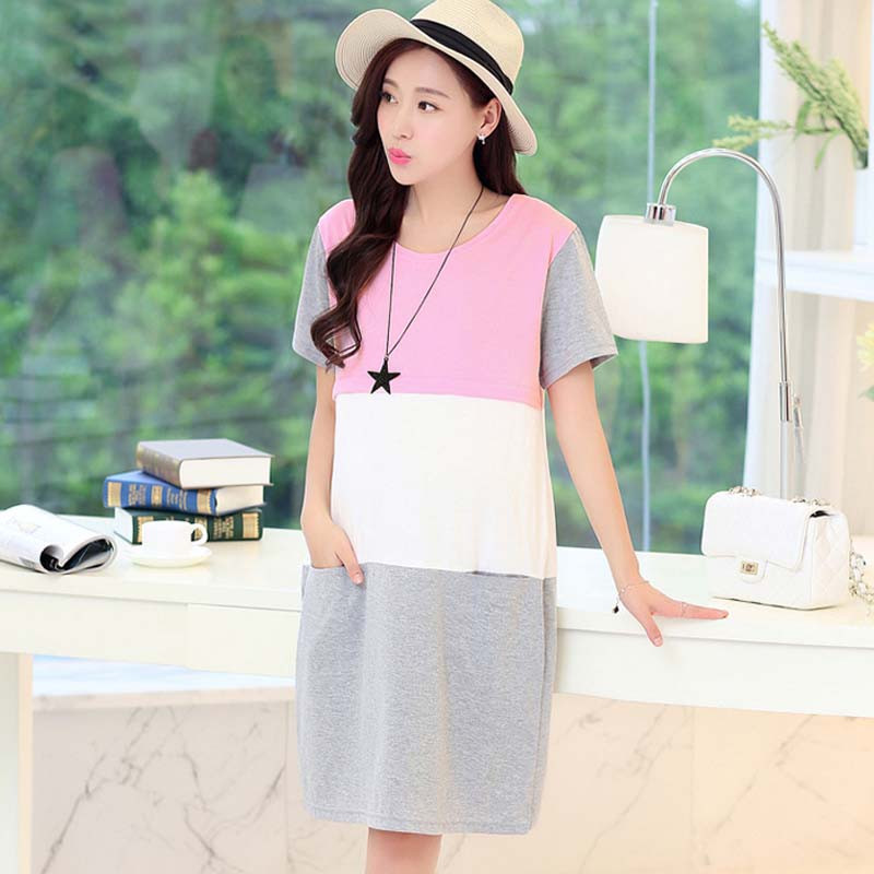 Pregnant Women Maternity Sweater Dress Solid color Nursing Pregnant Women Summer Maternity Dress Breastfeeding Cotton Dress graceful sleeveless pointelle solid color dress for women