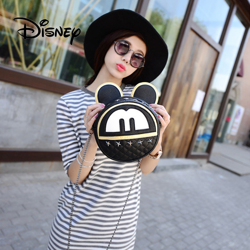 2019 Disney Plush Bag Mickey Mouse Bags Fashion For Women Zipper Shoulder Packet Round Crossbody Girl Messenger Phone Coin Bags