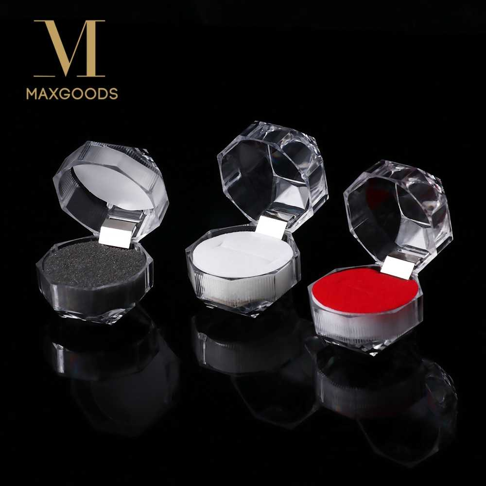 2Pcs Jewelry Package Ring Earring Box Acrylic Transparent Rings Earring Display Box Wedding Jewelry Package Box