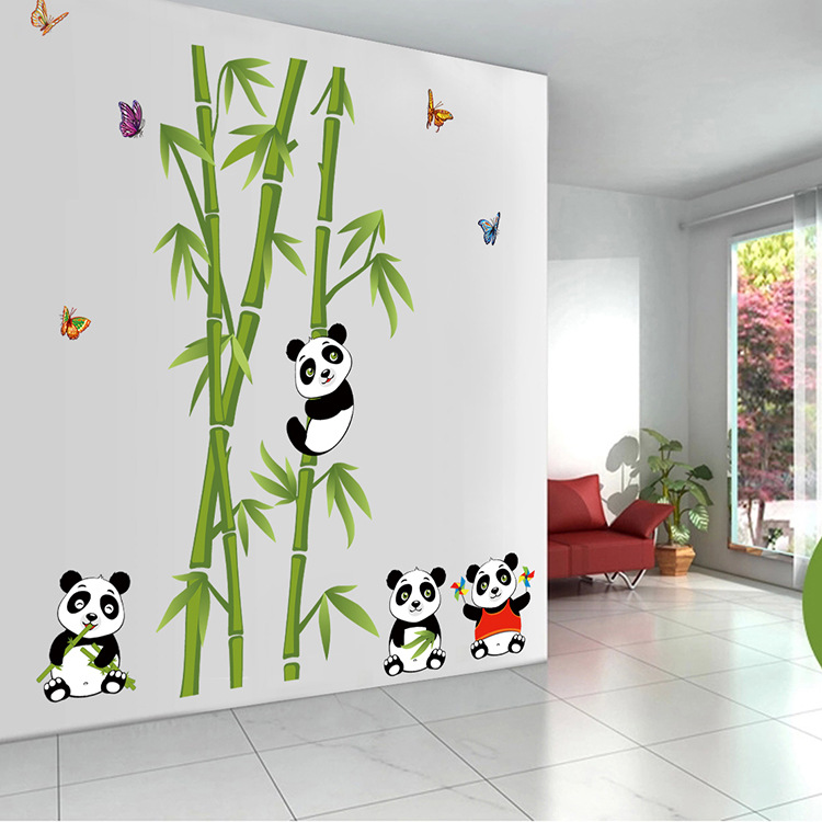 Baby Girl Nursery Removable Wallpaper Hot Stick A Lovely Panda Bamboo Wall Stickers Children