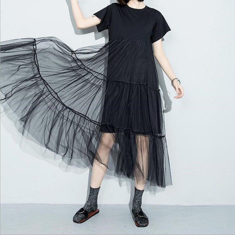 Black dress mid length straight