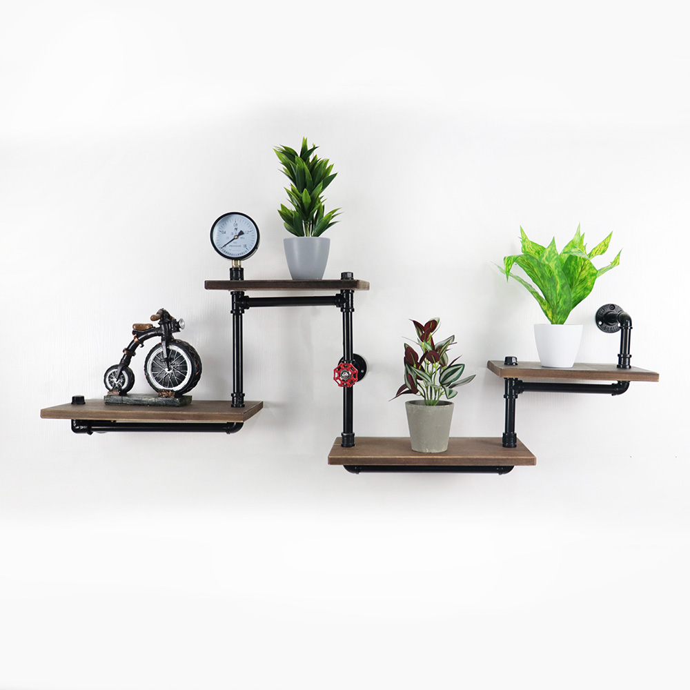 Industrial Retro Wall Mount Iron Pipe Shelf Bookshelf Hanging RacksIndustrial Retro Wall Mount Iron Pipe Shelf Bookshelf Hanging Racks