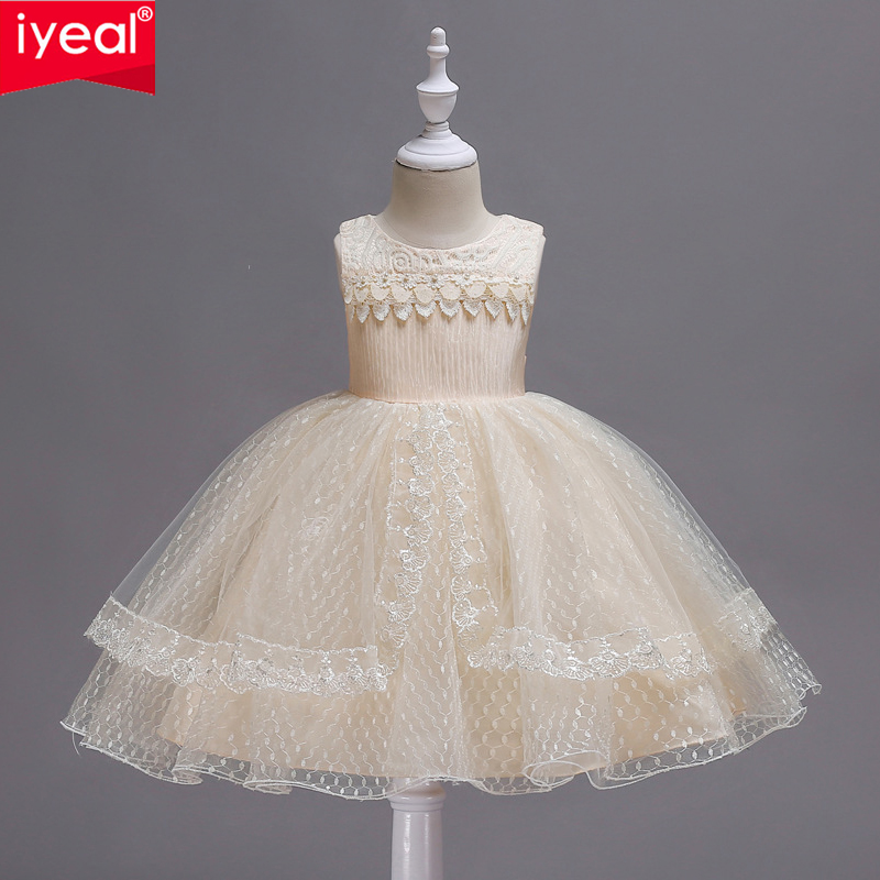 IYEAL Kids Dress for Girls Wedding Tulle Lace Long Girl Dress Elegant Princess Party Pageant Formal Gown for Teen Children Baby цена