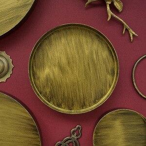 Винтажный Золотой поднос металлическая железная круглая пластина Классическая старинная бронзовая тарелка украшение для дома реквизит дл...