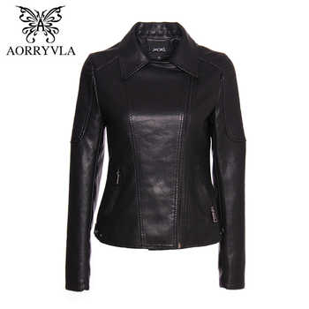 AORRYVLA Brand Faux Leather Jacket For Women Autumn 2019 Black Short Full Sleeve Zippers Bike Ladies Basic Jackets Hot Sale - DISCOUNT ITEM  49% OFF All Category