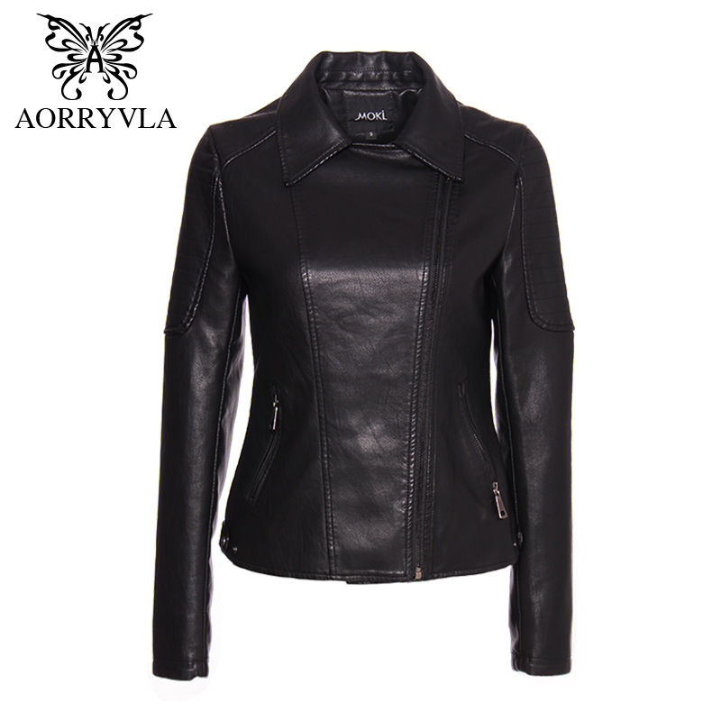 AORRYVLA Brand Faux   Leather   Jacket For Women Spring 2019 Black Short Full Sleeve Zippers Bike Ladies Basic Jackets Hot Sale