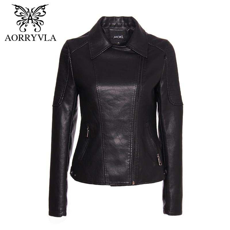AORRYVLA Brand Faux   Leather   Jacket For Women Spring 2019 Black Short Full Sleeve Zippers Bike Ladies Basic Jackets Hot Sale