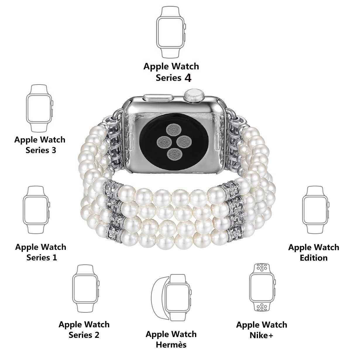 תכשיטי שעון רצועה + מקרה עבור אפל שעון להקות 38mm 40mm 40mm 42mm צמיד נשים רצועת השעון עבור iwatch סדרת 5/4/3/2/1 כיסוי
