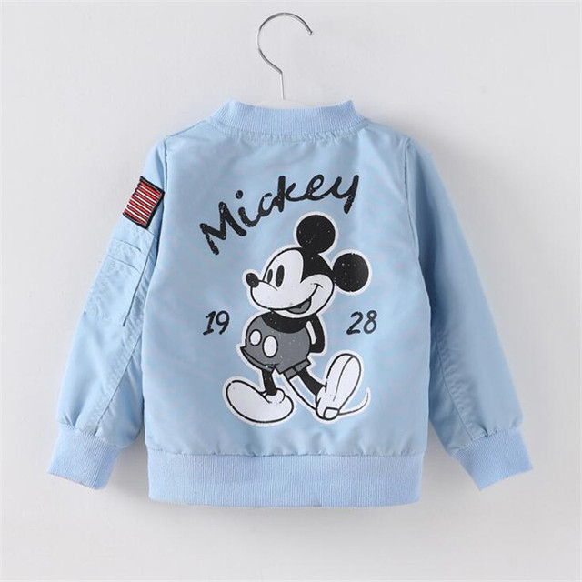 Baby Clothes Cartoon Mickey Pattern Girls Boys Jackets Coats Toddler Kids Jacket Outwear Baseball Windproof Children Clothes New 4