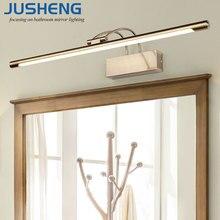 JUSHENG Modern Bronze Indoor LED Wall Lights Top Mirror Nickel Picture Lighting Fixtures 45-75cm long Bathroom Light 220V