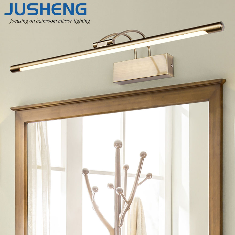 JUSHENG Modern Bronze Indoor LED Wall Lights Top Mirror Nickel LED Picture Lighting Fixtures 45-75cm long Bathroom Light 220V