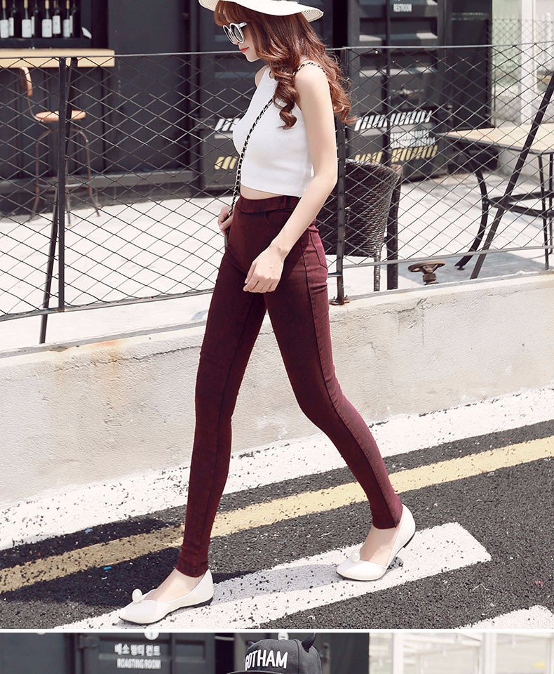BIVIGAOS Fashion Women Casual Slim Stretch Denim Jeans Leggings Jeggings Pencil Pants Thin Skinny Leggings Jeans Womens Clothing 12