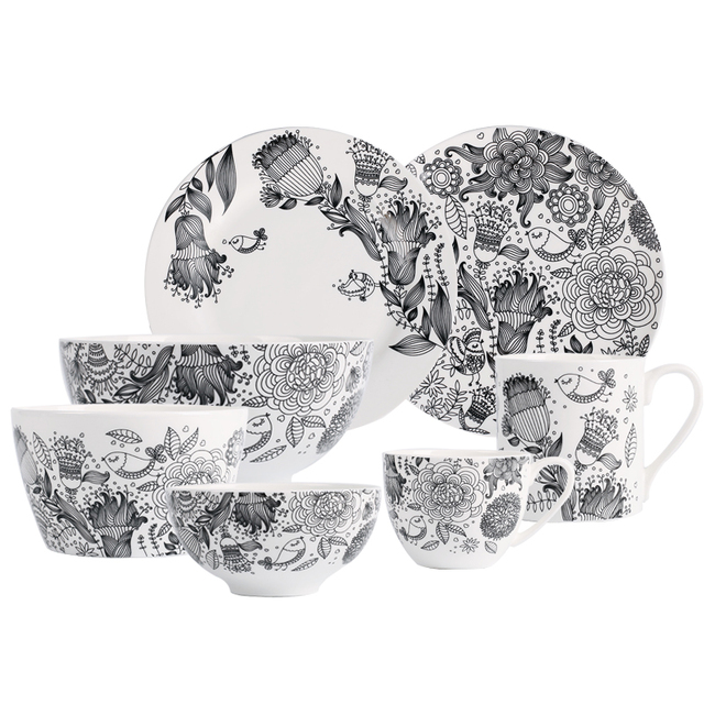 Black and White Ceramic Tableware