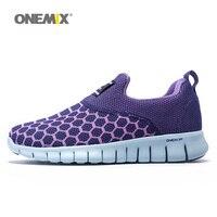 ONEMIX מאמני אתלטי נעלי ריצה לנשים לנשימה אישה נעלי ספורט Zapatillas סניקרס טיולים רגליים חיצוני סגול משלוח