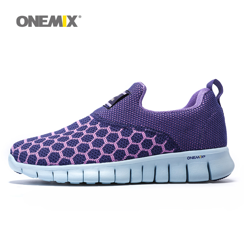 ONEMIX Woman Running Shoes For Women Breathable Athletic Trainers Purple Zapatillas Sports Shoe Outdoor Walking Sneakers Free 2017 smart home us standard wireless remote control 3 gang 1 way wall light touch switch white crystal glass panel ac 110v 240v