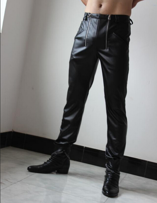 New Mens Clothing Genuine Leather Pants Double Zipper Top Cowhide Boot Cut Jeans Men Trousers Singer Costumes 29-39