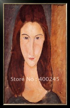 Abstract oil painting woman oil painting Portrait of Jeanne Hebuterne by Amedeo Modigliani High quality+100%handmade+Free ship image