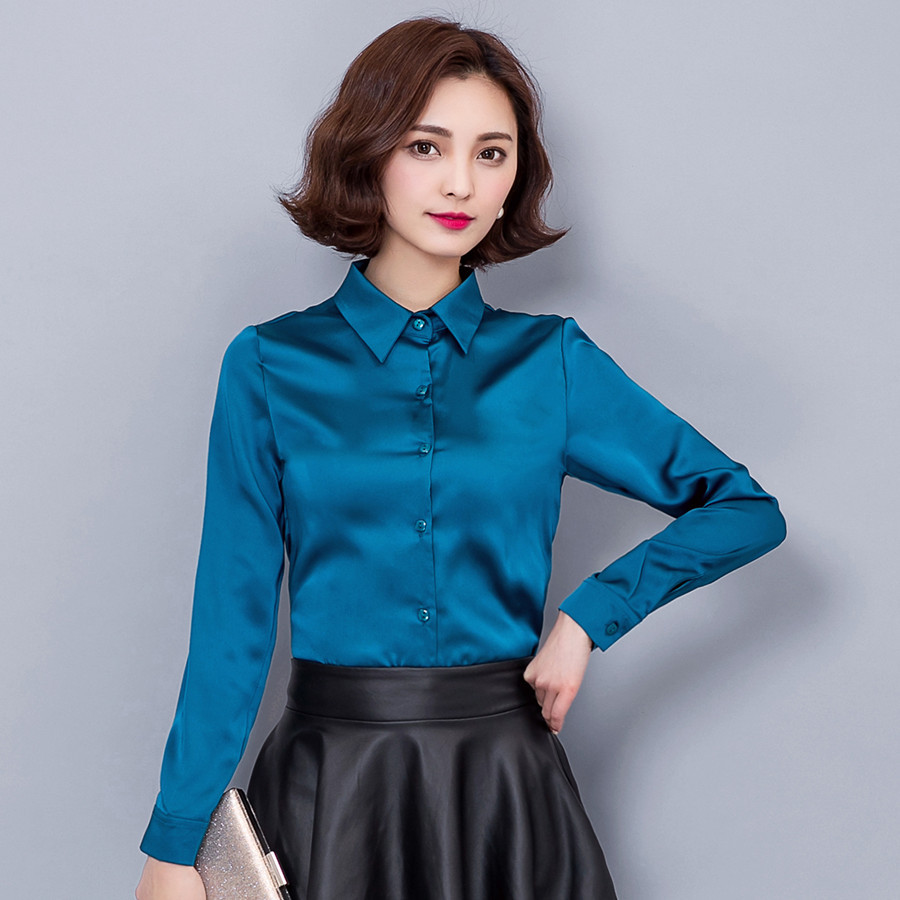 981c4a68a3 2016 new Peacock blue Satin Shirt Women Long sleeve silk Blouses women work  wear uniform office shirt simple body Chiffon top
