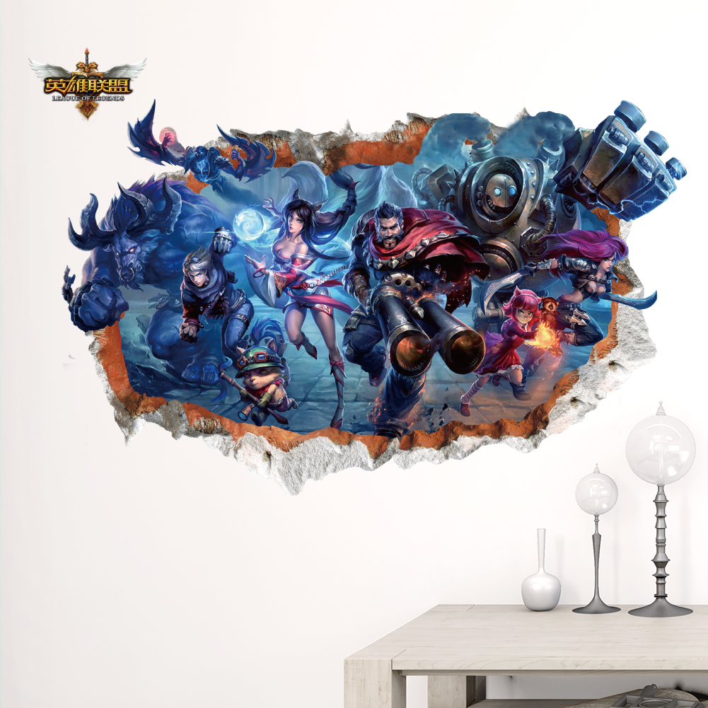 League of legends lol heroes wall stickers for kids rooms home decor 3d smashed wall hot game decals for kids boys bedroom art