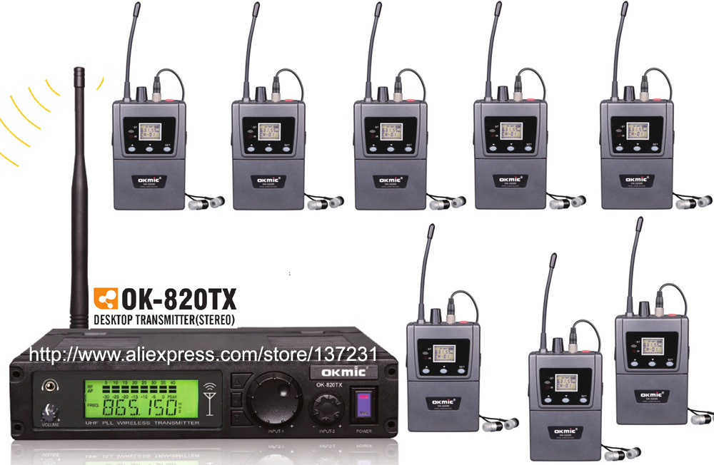 High Quality 1pcs transmitter 820TX with 8pcs receivers 5200R Stereo Receivers Wireless In Ear Monitor System Stereo Earphones