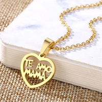 Fashion Heart Gold Necklace Stainless Steel I Love You Mom Charms Necklaces Women Girls Jewelry For Birthday Mother's Day Gifts
