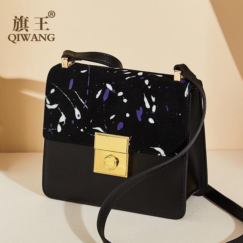 1775cb1b4475 Qiwang бренд небольшой замши пояса из натуральной кожи сумка Crossbody  Сумочка Высокое качество сумки на плечо