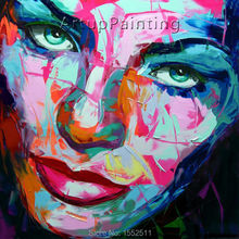 Palette knife painting portrait Face Oil Impasto figure on canvas Hand painted Francoise Nielly 16-41