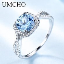 UMCHO Romantic 925 Sterling Silver Rings Wedding Aquamarine For Women Engagement Valentines Gift Fine Jewelry