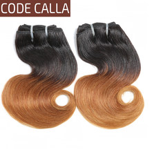 Code Calla Double Drawn Body Wave Brazilian Short-cut Raw Virgin Human Hair Ombre Brown Color 4-6 Bundles Weave Can Make A Wig(China)