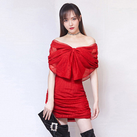 Sexy Off The Shoulder Cocktail Dress Women 2019 Big Bows Bodycon Tight Mini Red Cocktail Dress Short Cocktail Dress