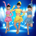 New Design Children Suits Stagewear Girls Latin Dance Clothing Sleeveless strap Top and Tutu Skirt Set