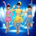 Nuevo Diseño Juegos de Los Niños Niñas Stagewear Ropa Sin Mangas de la correa Superior y Tutú de La Falda de Baile Latino
