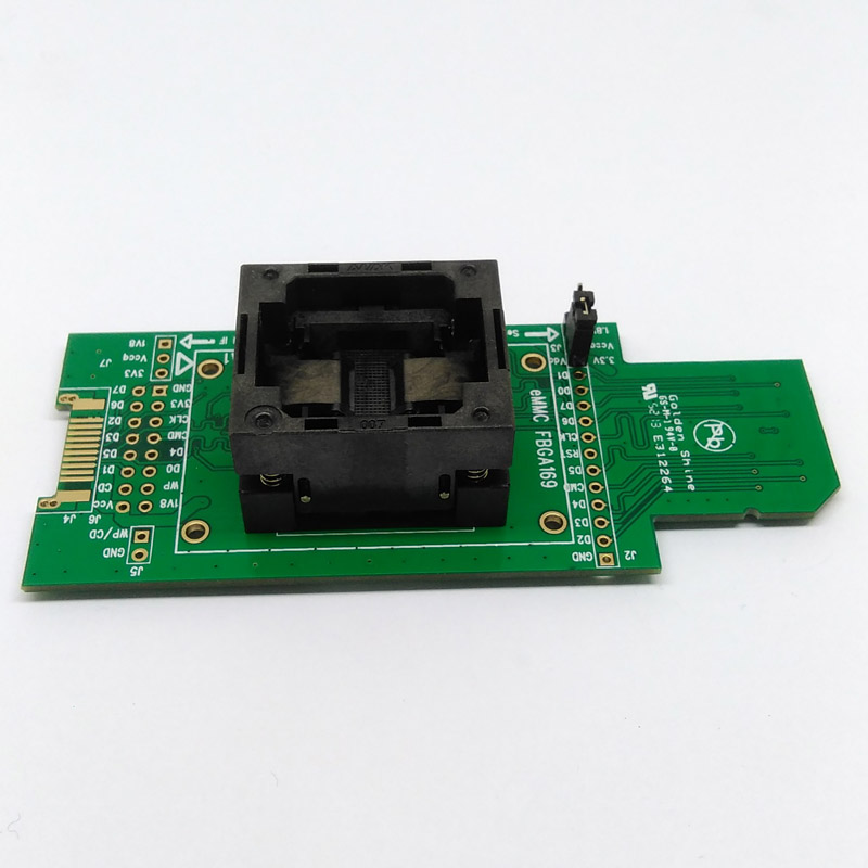 eMMC test Socket to SD eMMC adapter for nand flash testing for BGA 169 and BGA 153 size 14x18mm for data recovery bga series socket burn in test and programming test for bga package ic chips by this link can help you find right bga adapter