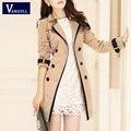VANGULL Trench Coat Para As Mulheres 2016 Moda Turn-down Gola Dupla Breasted Contraste Cor Longa Casacos Plus Size Casaco Feminino