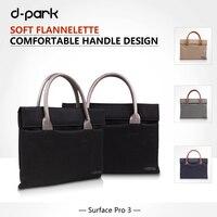 D Park Handbag Oxford Cloth Genuine Leather Case Bag For Microsoft Surface Pro3 Sleeve Bag For