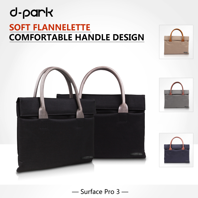 D-park Handbag Oxford Cloth & Genuine Leather Case Bag For Microsoft Surface Pro 4/3 Sleeve Bag For Surface Pro 4/3