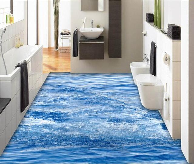 Merveilleux 3d Pvc Flooring Waterproof 3d Bathroom Flooring The Surface Wave Background  3d Flooring Paintings Photo 3d