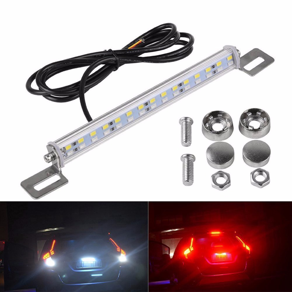 Red White Double Color 5730 30SMD Car LED DRL Brake Rear Strobe Light Backup Reverse Turn Signal License Plate Light Lamp Bar car styling tail lights for toyota highlander 2015 led tail lamp rear trunk lamp cover drl signal brake reverse