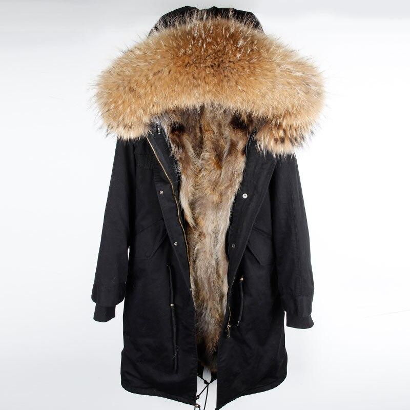 2018 XX-long parka réel naturel fourrure de raton laveur collier manteau à capuchon réel chaud doublure en fourrure de renard Sur le genou veste d'hiver femmes parkas