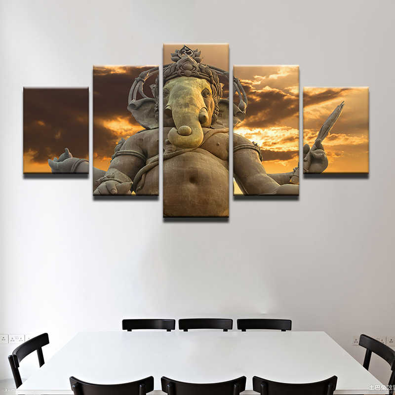 Canvas Wall Art Frame Posters Prints Canvas 5 Panel Elephant God Ganesha Painting Wall Pictures For Living Room Home Decor